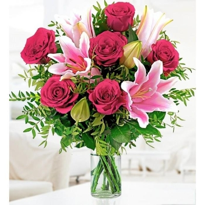 Lustic Pink Lily  and Rose Bouquet