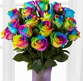 Rainbow Roses or Happy Roses Bouquet with free vase