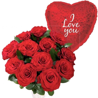 12 Red Roses With I Love You Balloon Flowers Delivery 4