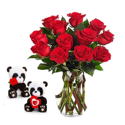 12 Red Roses Bouquet With Love Teddy