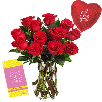12 Red Roses Bouquet with Love Balloon & Chocolate