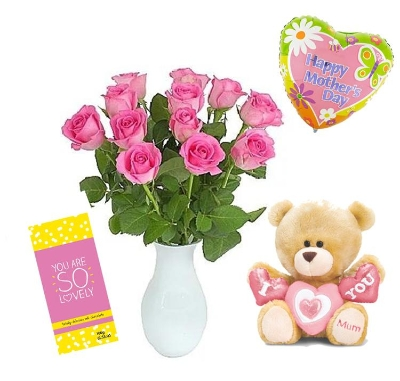 12 Pink Roses with Balloon, Chocolate and Teddy