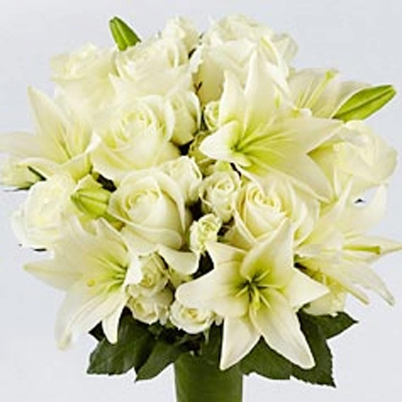 lustic white lily and white rose bouquet flowers delivery 4 u
