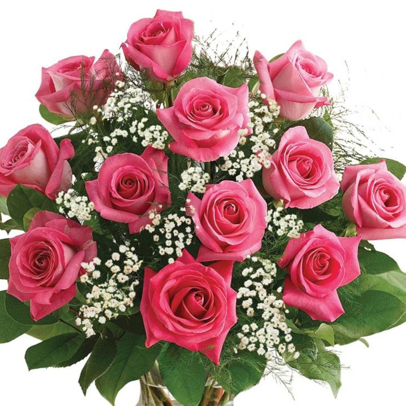 Classic 24 Pink Roses Bouquet Flowers Delivery 4 U