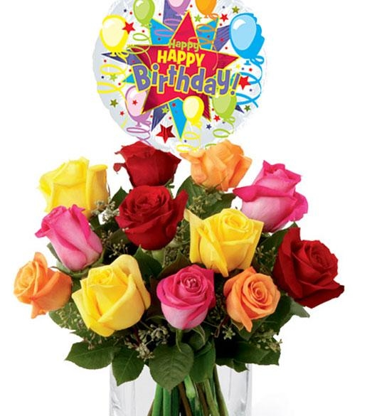 12 Mix Roses With Birthday Balloon