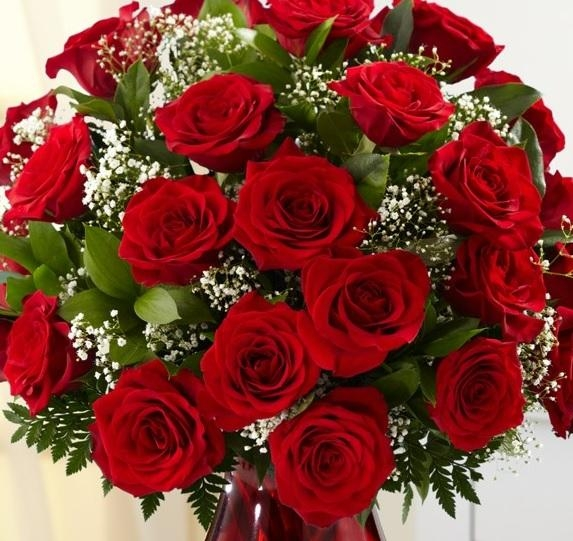 Classic 24 Red Roses Bouquet Flowers Delivery 4 U