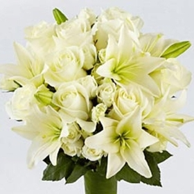 Lustic White Lily  and White Rose Bouquet
