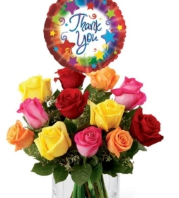 12 mix roses with thankyou balloon