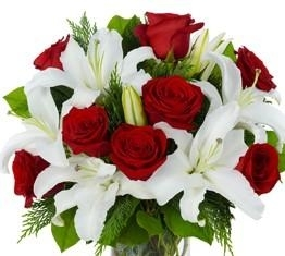 Lustic White Lily  and Red Rose Bouquet