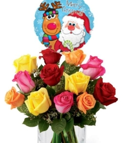 12 mix roses with xmas balloon