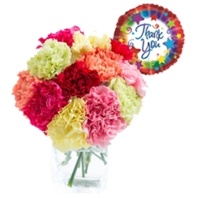 12 Long Stem Mixed Carnations with Thank you Balloon