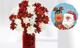 Christmas Bouquet with Teddy, Balloon & Chocolate