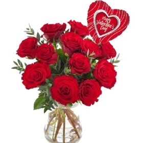 12 Red Roses Bouquet with Valentine's Balloon