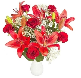 Red Lily and Rose Bouquet