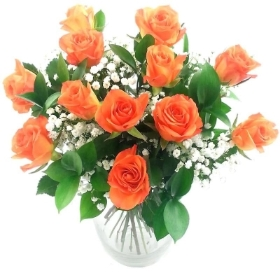 Classic 12 Orange Roses Bouquet