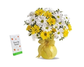 Yellow & White Daisy Bouquet with Chocolate
