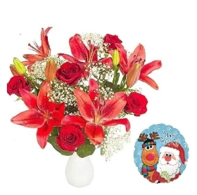 Red Lily and Rose Bouquet with Christmas Balloon