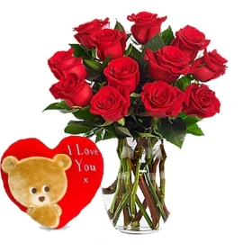 12 Red Roses Bouquet with Heart Cushion