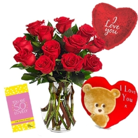 12 Red Roses Bouquet with Cushion, Chocolate & Balloon