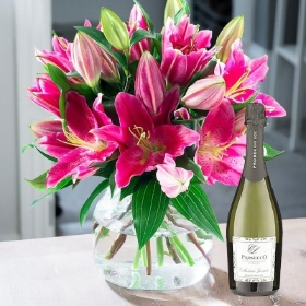 Pink Lily Bouquet With Prosecco